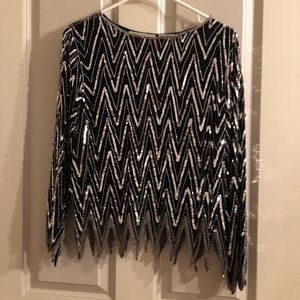 Beaded Silver And Black Vintage Formal Top